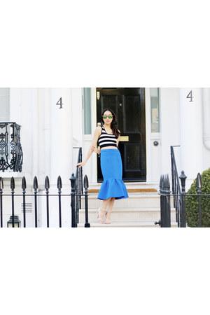 blue scuba asoscom skirt - black stripes Forever 21 top