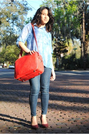 aquamarine sheer blouse - navy skinny Levis jeans - red leather bag