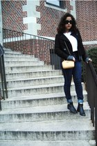 woven boots - navy high rise BDG jeans - black Forever21 sweater - white shirt