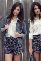 sky blue denim jacket - black floral Forever21 shorts - white chiffon Forever21