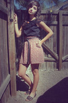 black shirt - skirt - brown Target shoes