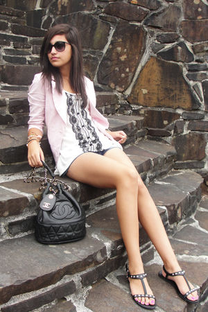pink blazer - black Chanel purse - black Old Navy glasses