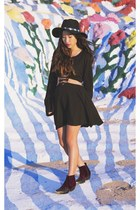 black For Love and Lemons dress - crimson To Be Announced boots
