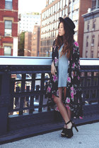 black kimono jacket jacket - silver Dress dress - black Platforms sandals