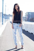 black Missguided top - light blue Missguided jeans - white Alexander Wang bag