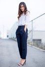 White-h-m-shirt-navy-zara-pants-black-zara-sandals