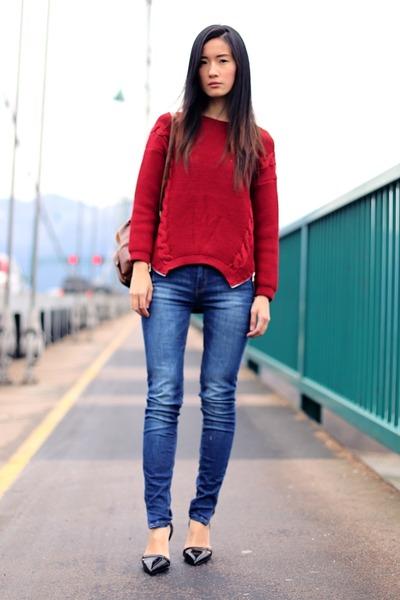 red PERSUNMALL sweater - blue Zara jeans - crimson PERSUNMALL bag