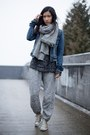 Navy-american-eagle-jacket-dark-gray-h-m-sweater-silver-zara-scarf