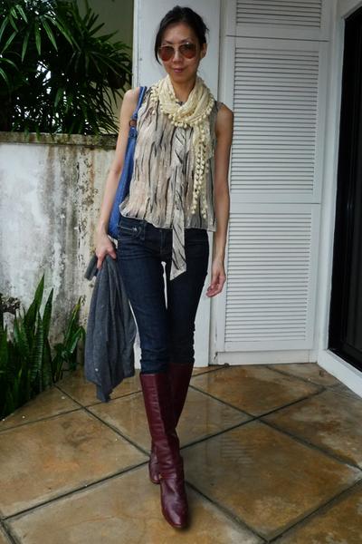 gray Anna Sui blouse - blue taverniti so jeans - gray SPY cardigan - brown etien