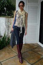 gray Anna Sui blouse - blue taverniti so jeans - gray SPY cardigan - brown etien