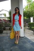 blue abyzz dress - silver abyzz belt - red abyzz cardigan - green pedder red sho