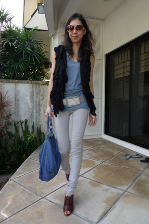 gray Habitual jeans - blue balenciaga purse - brown Pour La Victoire shoes - sil
