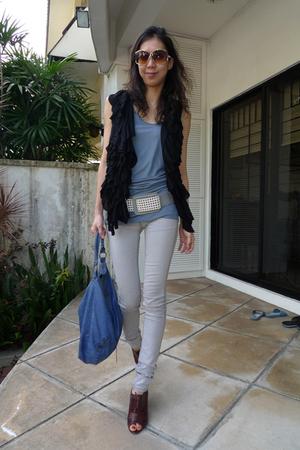 gray Habitual jeans - blue balenciaga purse - brown Pour La Victoire shoes - sil