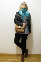 black Gipsy by Mauritius jacket - brown Harolds purse - blue Mango blouse - gray