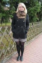 brown H&M scarf - black Mango jacket - brown Mango shorts - black Calzedonia tig