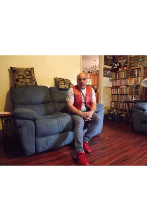 red sneakers - red leather vest