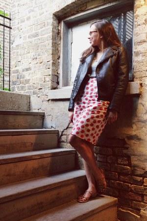black Zara jacket - red polka dot Anthropologie skirt
