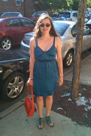 blue JCrew dress - carrot orange Target bag - light pink Lookmatic sunglasses