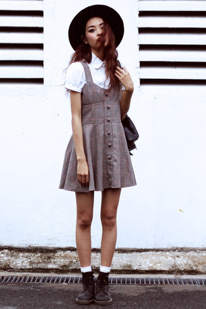 black Dr Martens boots - brown VESSOS dress - white Zara shirt