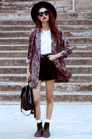 crimson Thrift Store blazer - black Dr Martens boots - black Choies shorts