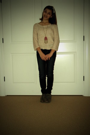 American Eagle jeans - H&M sweater - Obot wedges - Charlotte Russe necklace