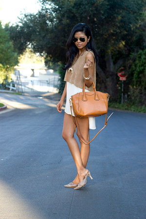 light brown suede cropped AGAIN top - ivory chiffon tank Lush top
