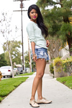 mint Zara sweater - vintage Levis shorts - Society Wears ring