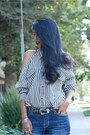 Blue-boyfriend-urban-outfitters-shorts-white-stripes-vintage-blouse