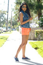 Carrot-orange-neon-orange-big-star-usa-shorts-blue-denim-acid-wash-audrey-vest