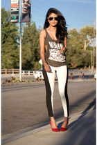 charcoal gray band tee brandy melville top - black two tone Timeless pants
