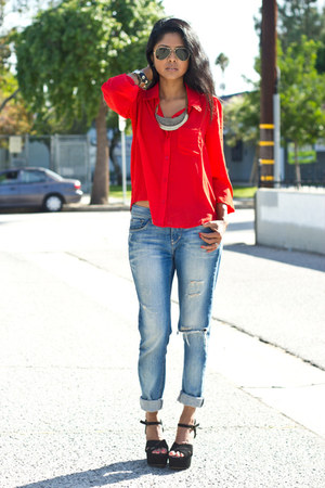 sheer f21 shirt - boyfriend jeans BDG jeans - westiis Steve Madden wedges
