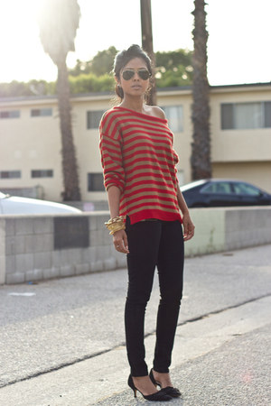 ruby red stripes Zara jumper - black black Zara jeans
