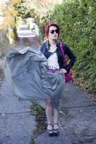 hot pink purse Just Fabulous bag - black leather jacket Forever21 jacket