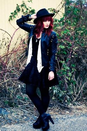 black litas Jeffrey Campbell boots - black velvet thrifted dress