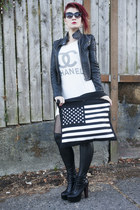 bag - litas Jeffrey Campbell boots - Hudiefly dress - leather jacket jacket