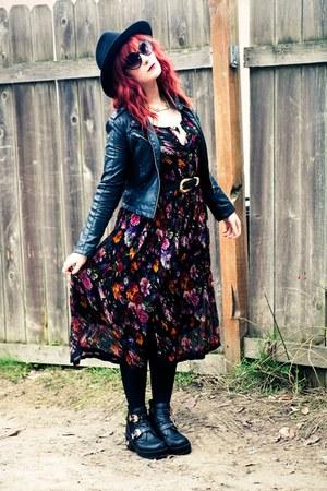 black coltrane Jeffrey Campbell boots - black floral midi thrifted dress