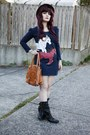 Sonoma-boots-horse-print-dress-brown-bowler-hat-bag