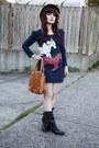 Sonoma-boots-horse-print-dress-brown-bowler-hat-bag