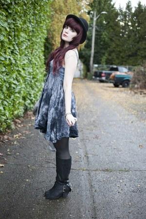black naughty monkey boots - silver tea stain dress crash and burn apparel dress