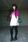 White-lace-dress-ruby-rox-dress-leopard-hat-hat-hot-pink-neon-blazer-blazer