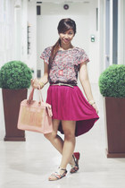 bubble gum Jacinto and Lirio bag - red Sakaya blouse - navy The Ramp flats