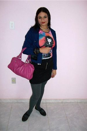 pink Capricho blouse - blue Own Model blazer - black skirt - gray trifil socks -