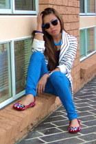 blue skinny random brand jeans - striped bardot blazer - blue-framed rayban sung
