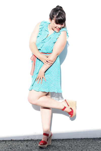 aquamarine lefties dress - red Parfois wedges