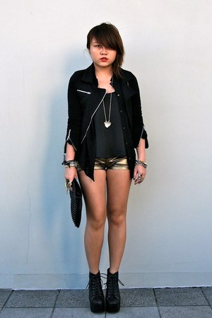 gold metallic shorts supre shorts - black biker Mink Pink jacket