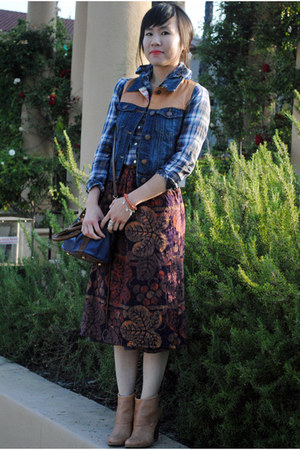 amethyst midi thrifted skirt - camel leather Nine West boots