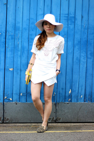 white wool floppy American Apparel hat - yellow kate spade purse