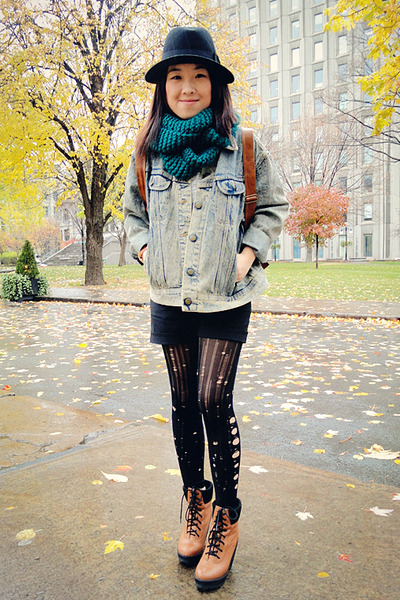 teal Forever 21 scarf - bronze Urban Outfitters boots - black H&amp;M hat