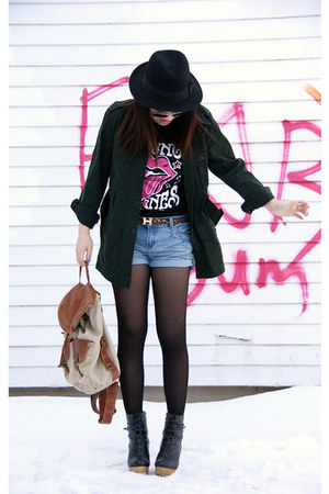 black H&M hat - forest green Urban Outfitters jacket - light brown Aldo bag