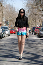 black Forever 21 blouse - bubble gum Urban Outfitters shorts